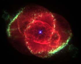 This is the cat's eye nebula.  I think God looks a lot like this.