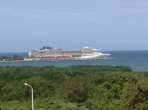 Our ship from a safe distance in Jamaica.  This is about as close as I feel comfortable.